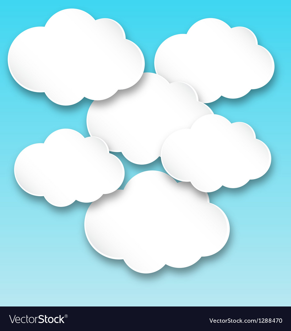 Paper white clouds vector | Price: 1 Credit (USD $1)