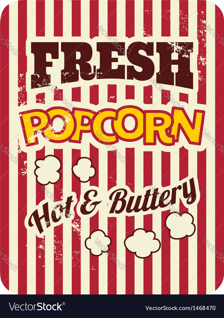 Retro style popcorn packaging design vector | Price: 1 Credit (USD $1)