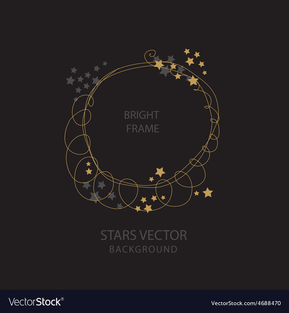 Round frame with golden stars vector
