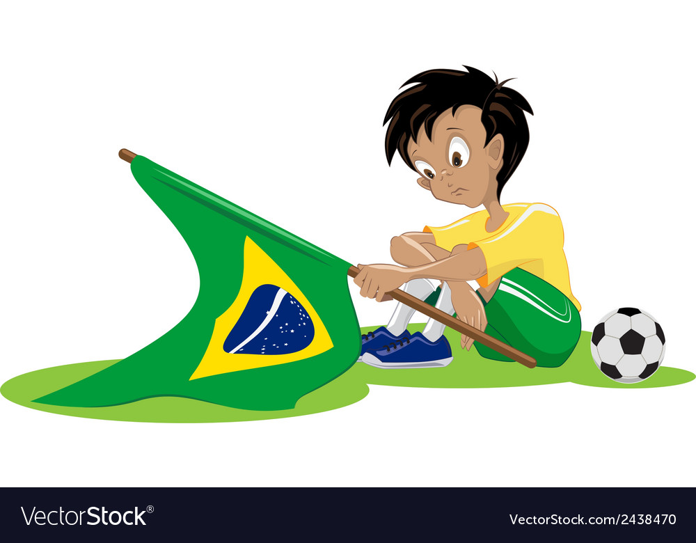 Sad brazil soccer fan vector | Price: 1 Credit (USD $1)