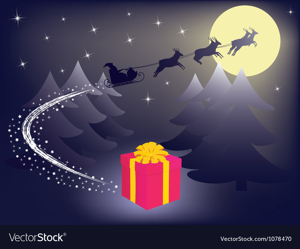 Santa leaving gift vector | Price: 1 Credit (USD $1)