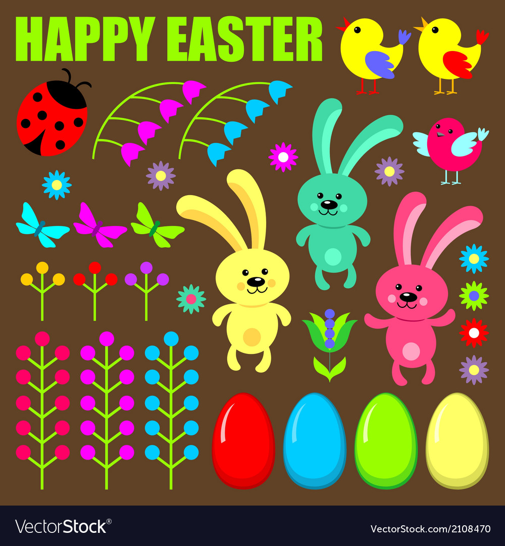 Set of easter eggs animals and flowers vector | Price: 1 Credit (USD $1)