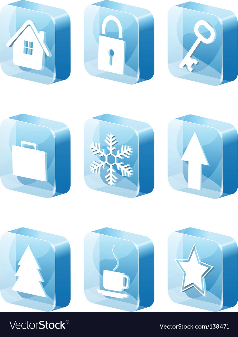 3d blue icons set vector | Price: 1 Credit (USD $1)