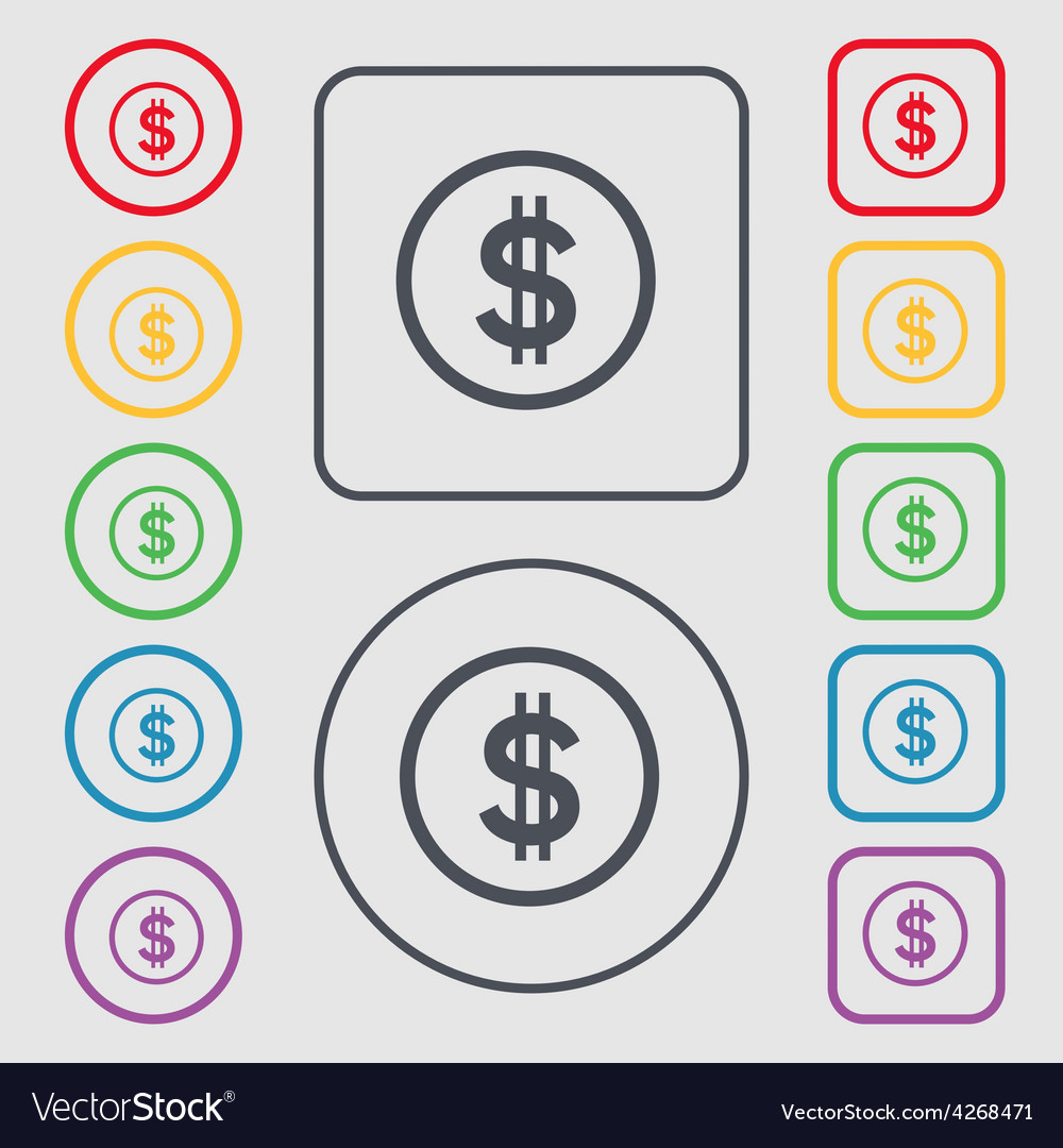 Dollar icon sign symbol on the round and square vector | Price: 1 Credit (USD $1)