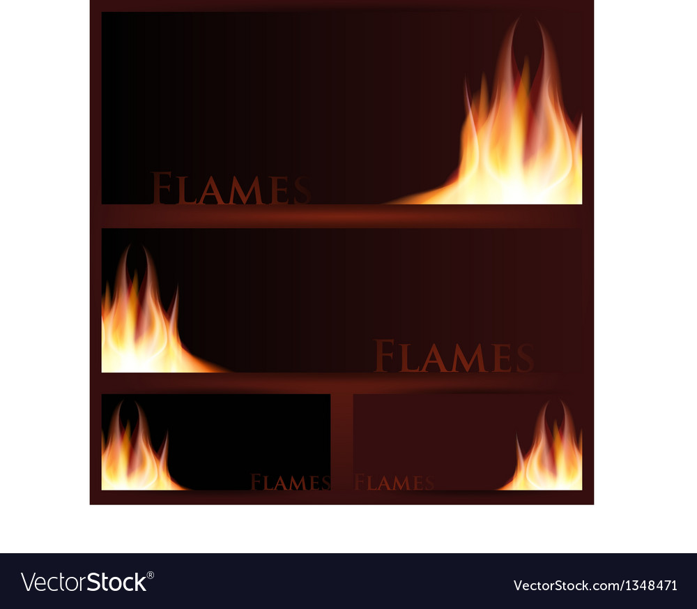 Fire frames on black background vector   Price: 1 Credit (USD $1)