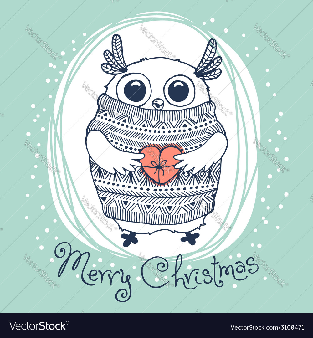Hand drawn with cute eagle owl merry christmas vector | Price: 1 Credit (USD $1)