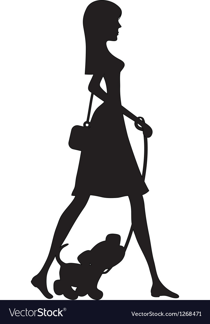 Lady walking puppy silhouette vector | Price: 1 Credit (USD $1)