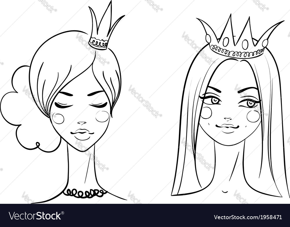Princess sketches style vector | Price: 1 Credit (USD $1)