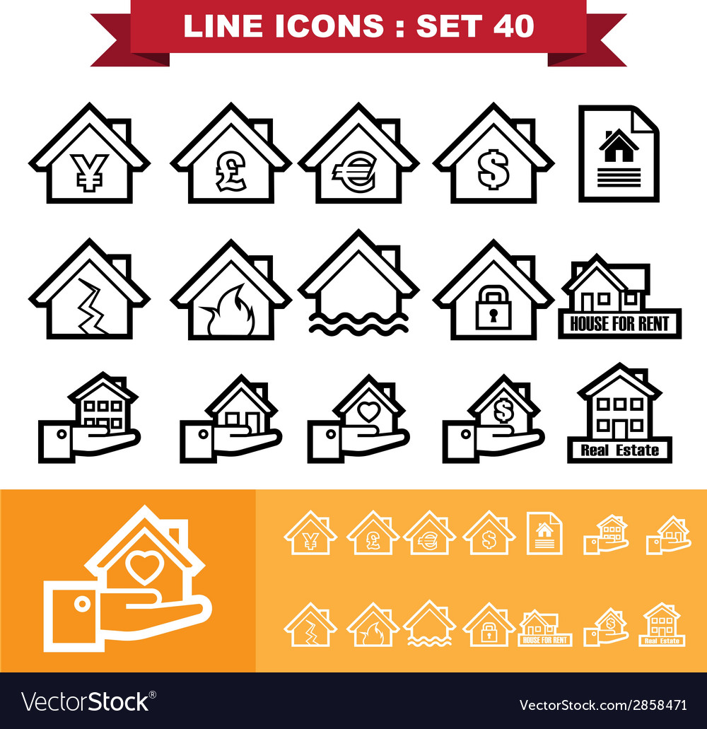 Real estate line icons set 40 vector | Price: 1 Credit (USD $1)