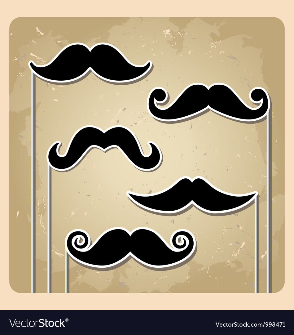 Set of hipster party mustache vector | Price: 1 Credit (USD $1)