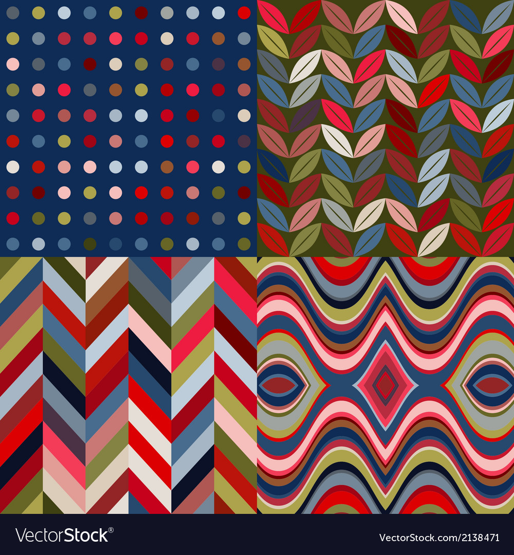 Set of retro seamless abstract wavy backgrounds vector