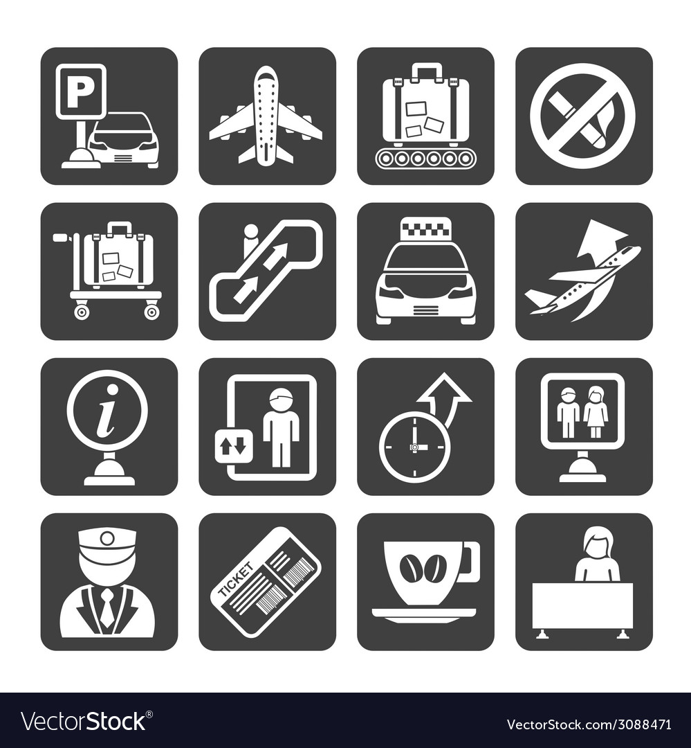 Silhouette airport and transportation icons vector | Price: 1 Credit (USD $1)