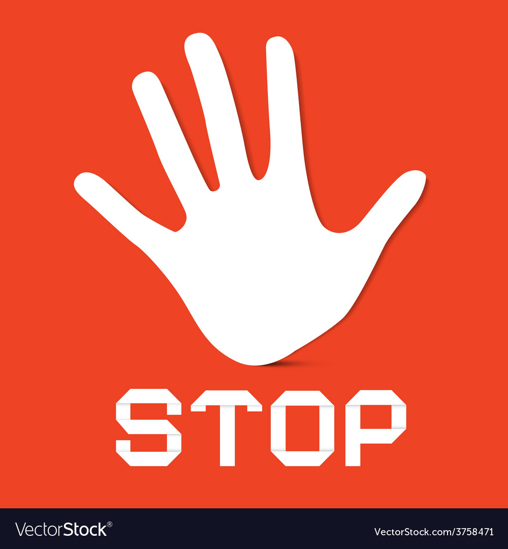 Stop palm hand on red background vector   Price: 1 Credit (USD $1)