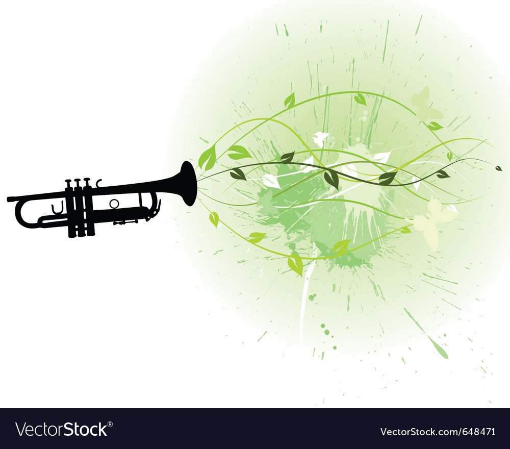 Trumpet with floral vector | Price: 1 Credit (USD $1)