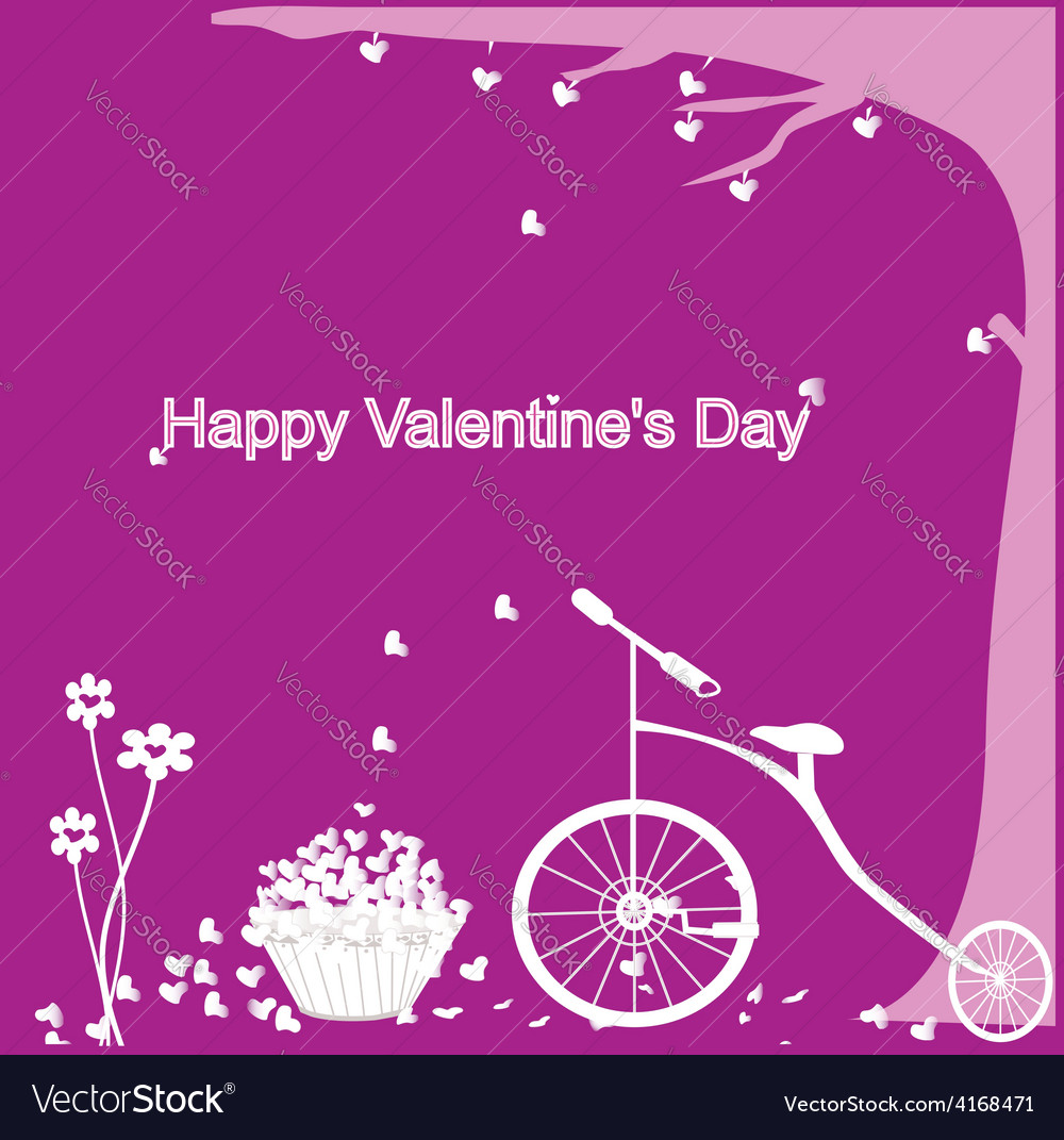 Valentine format bicycles with heart tree vector | Price: 1 Credit (USD $1)