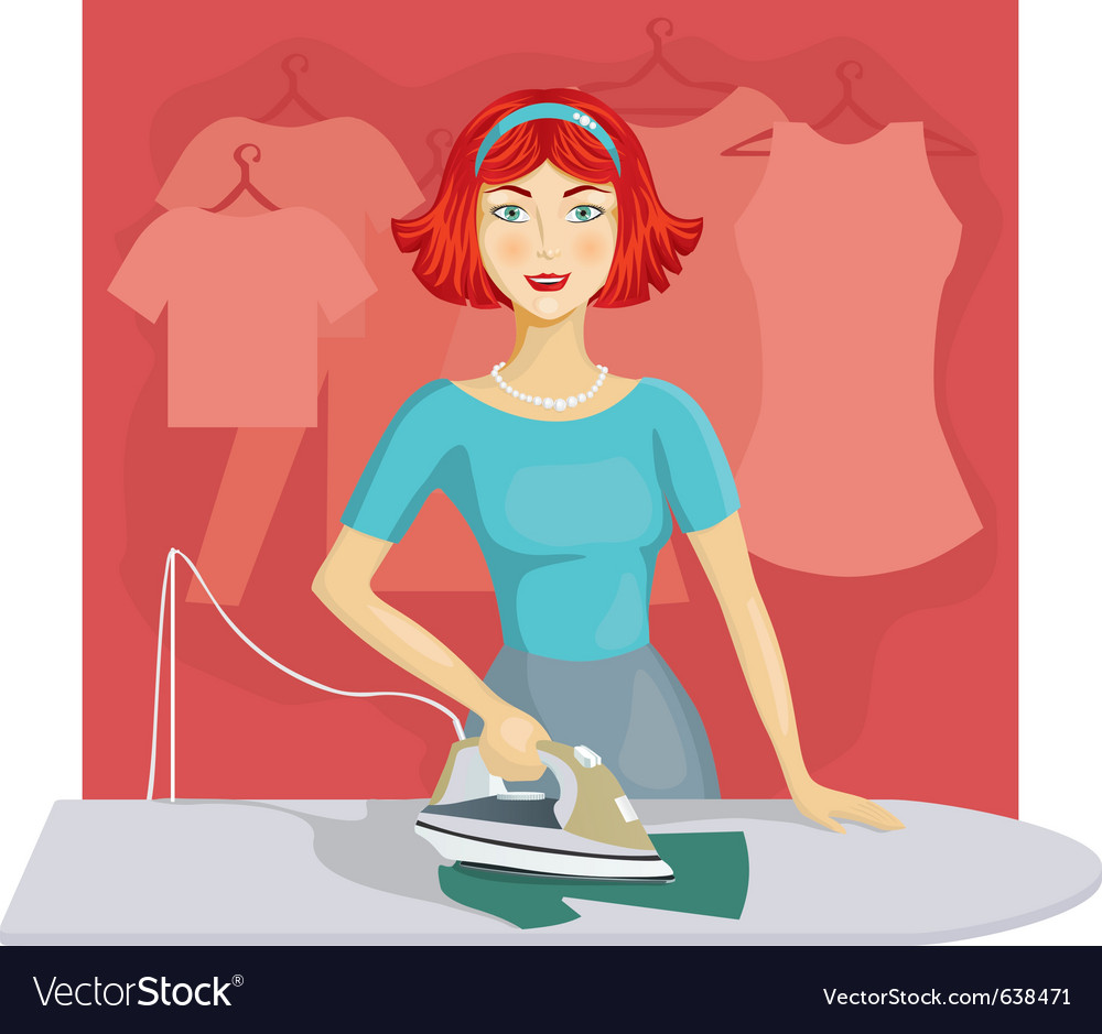 Woman ironing clothes vector | Price: 3 Credit (USD $3)