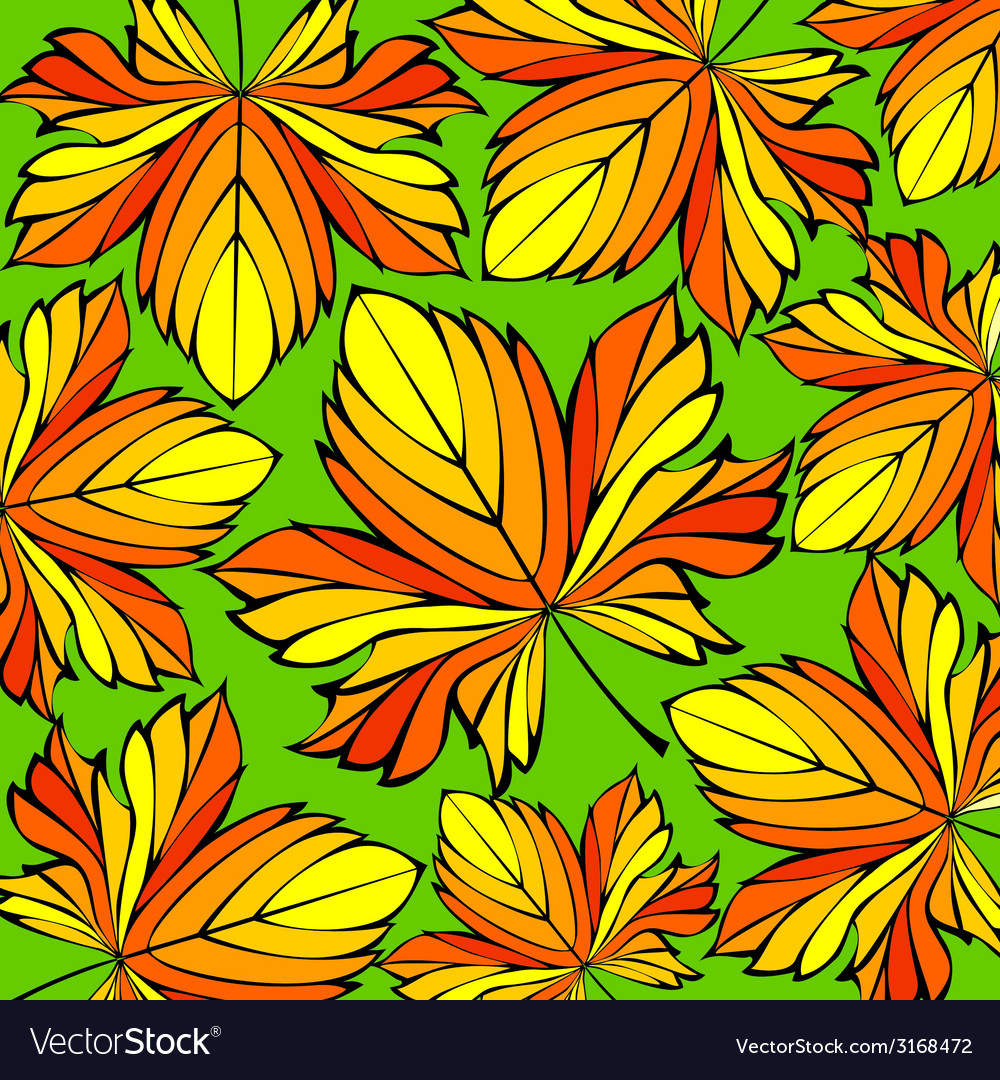 Beautiful decorative ornament with autumn leaves vector | Price: 1 Credit (USD $1)