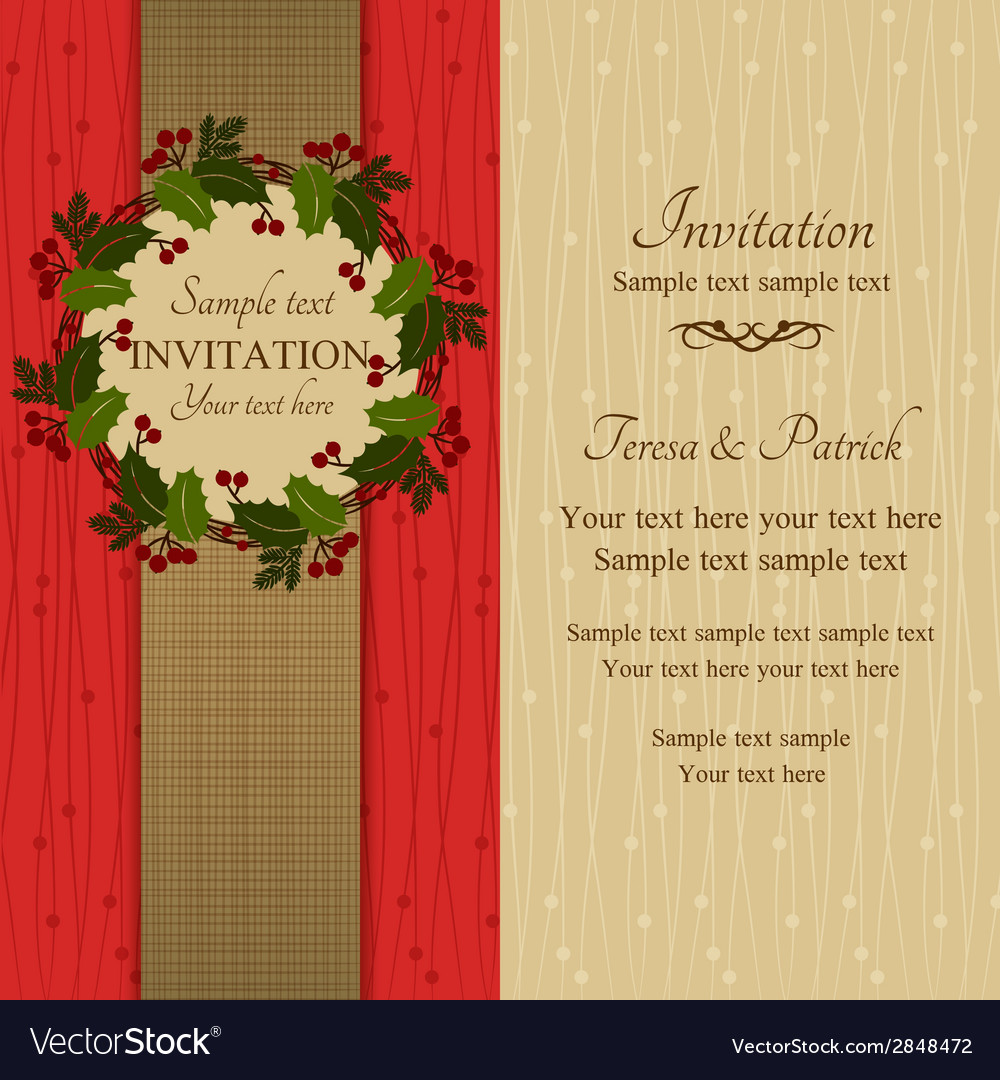 Christmas invitation red and beige vector | Price: 1 Credit (USD $1)