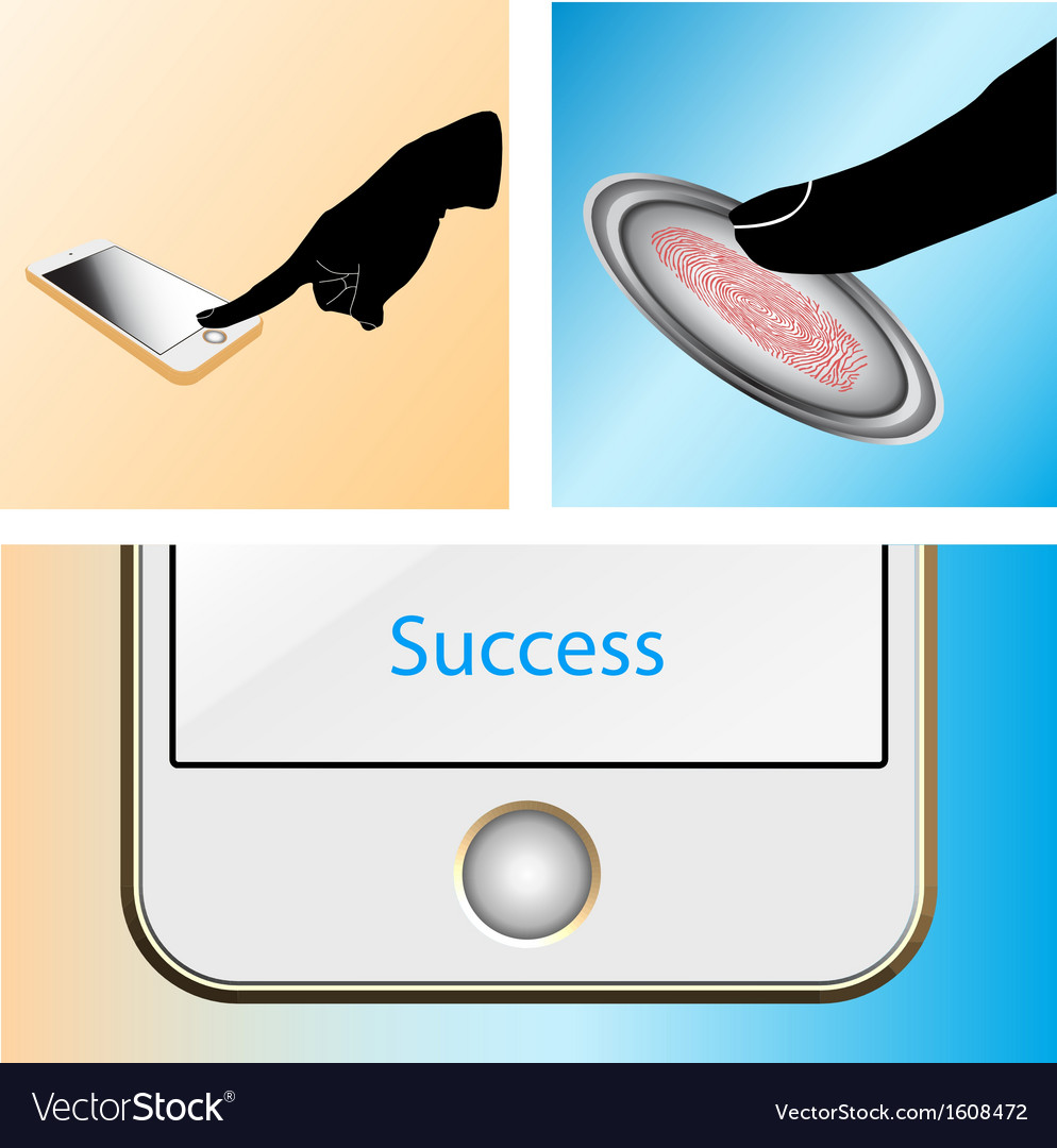 Fingerprint scan touch mobile vector | Price: 1 Credit (USD $1)