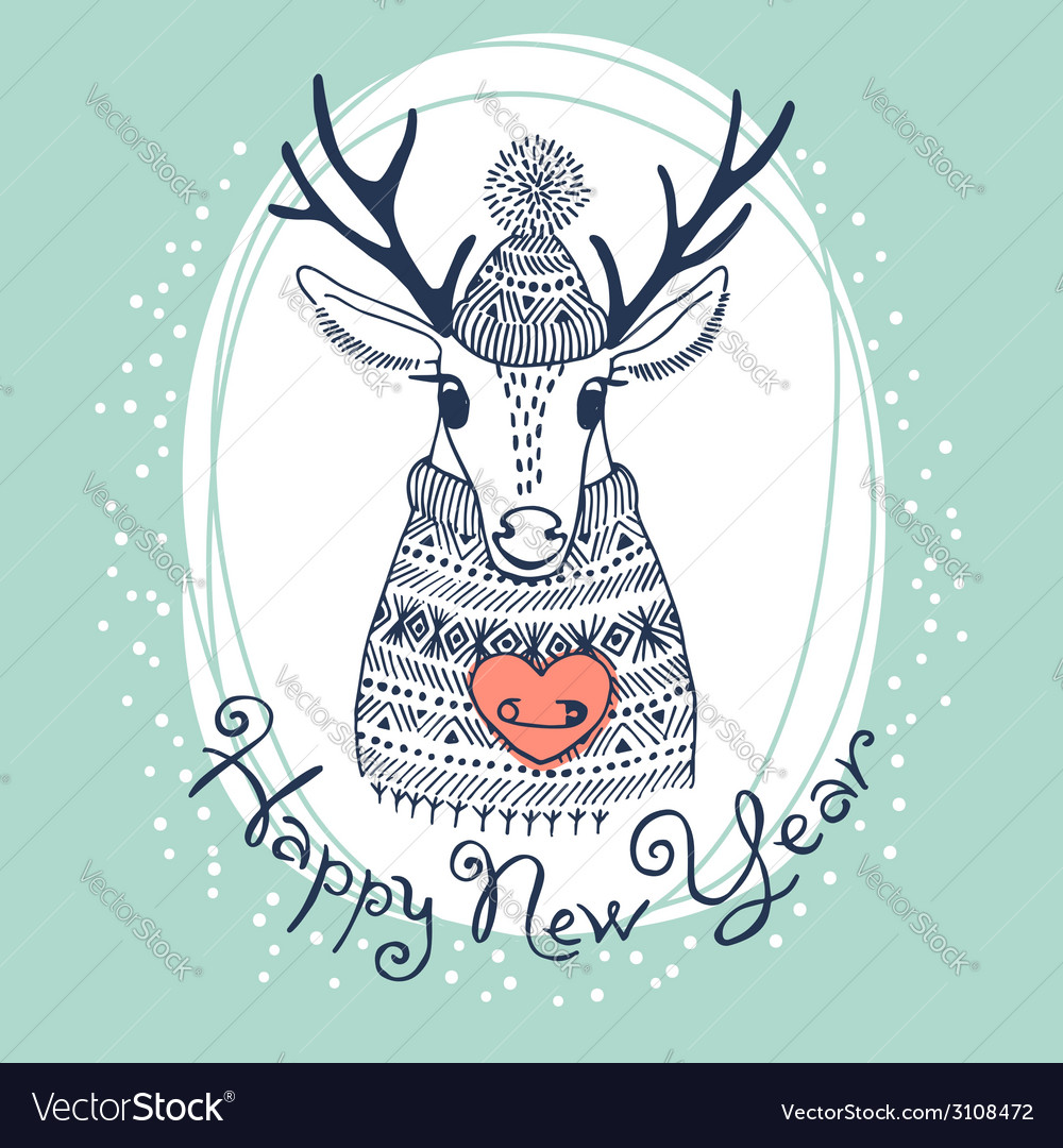 Hand drawn with cute deer happy new year card vector | Price: 1 Credit (USD $1)