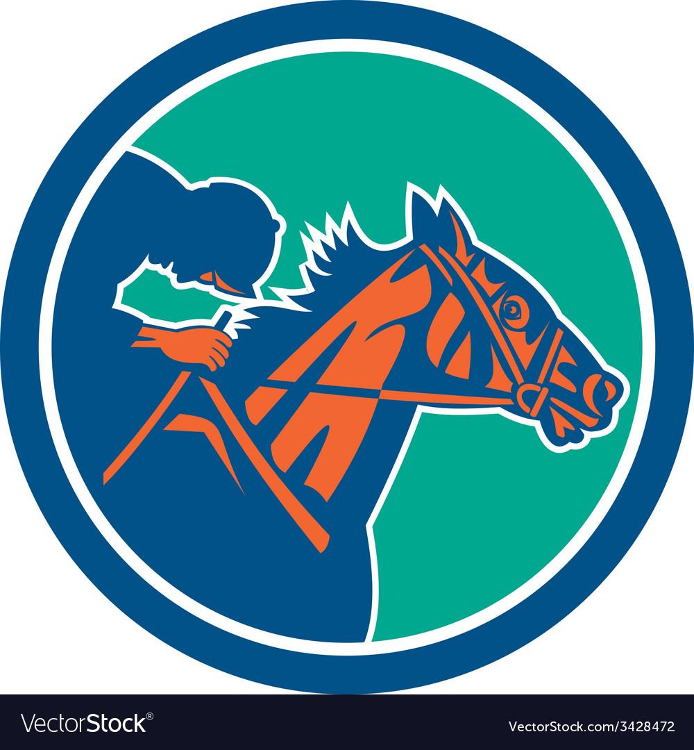 Horse jockey racing circle retro vector | Price: 1 Credit (USD $1)