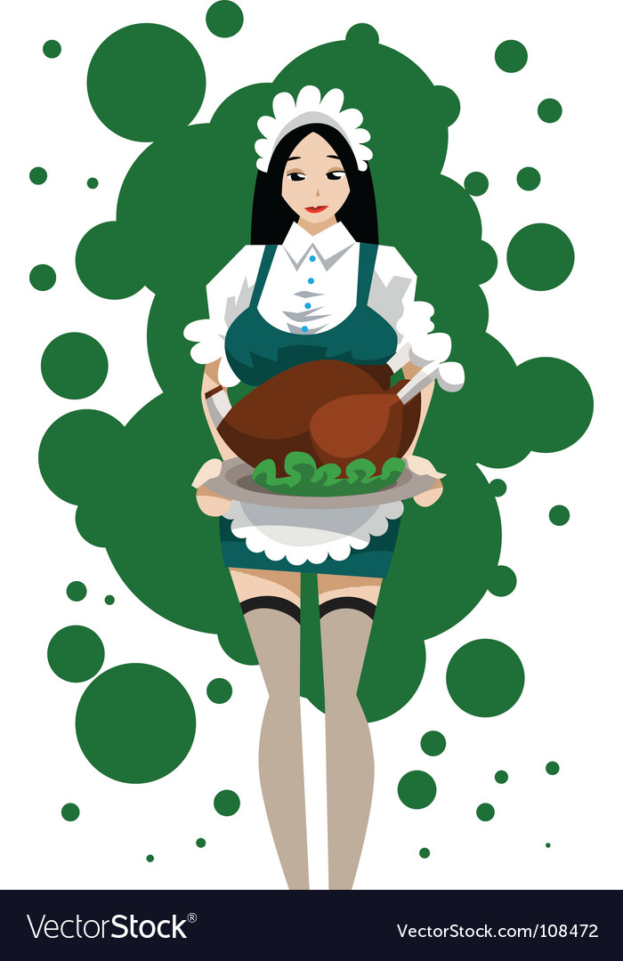 Maid with turkey roast vector | Price: 1 Credit (USD $1)