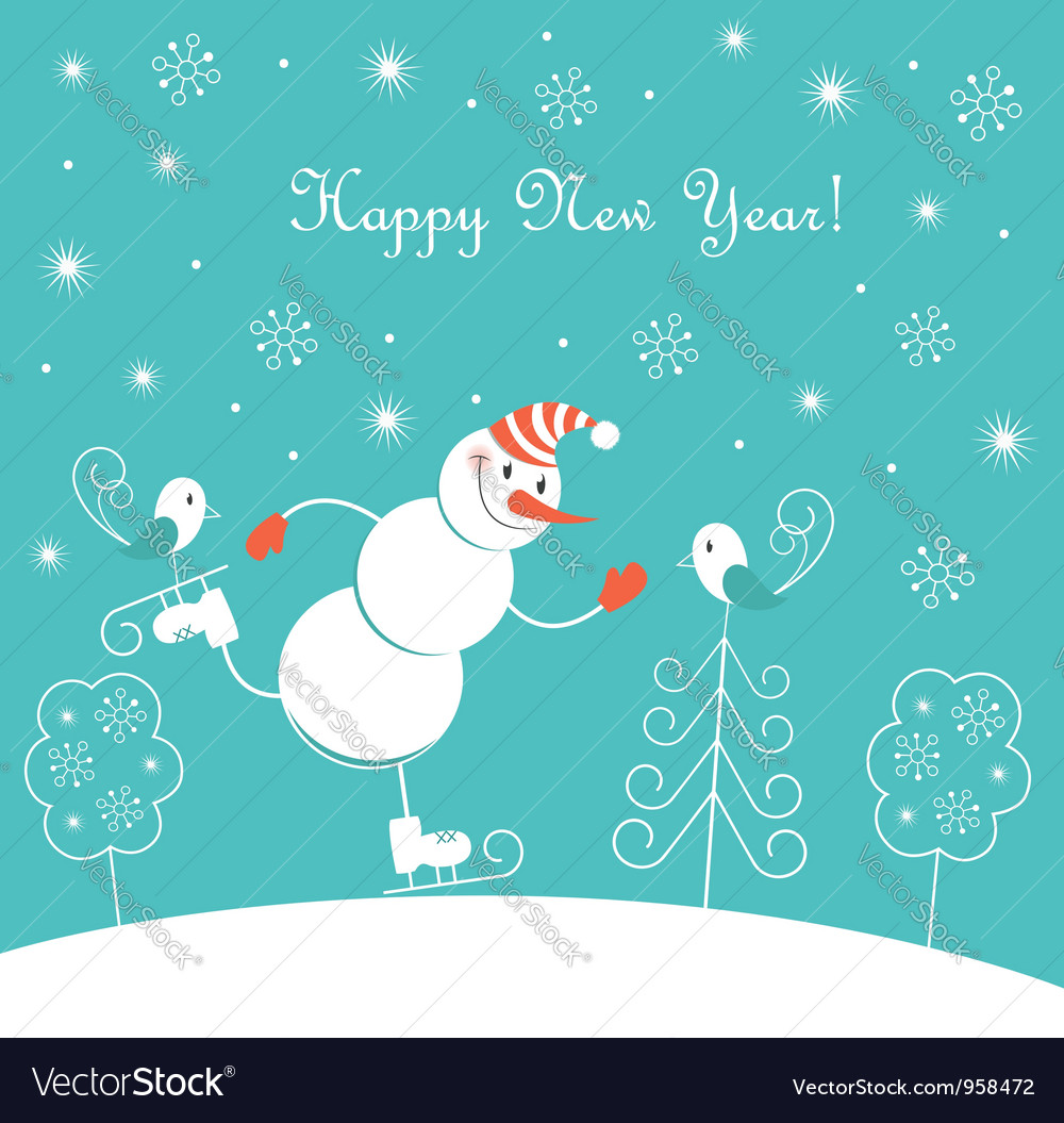 New year skating happy snowman vector | Price:  Credit (USD $)