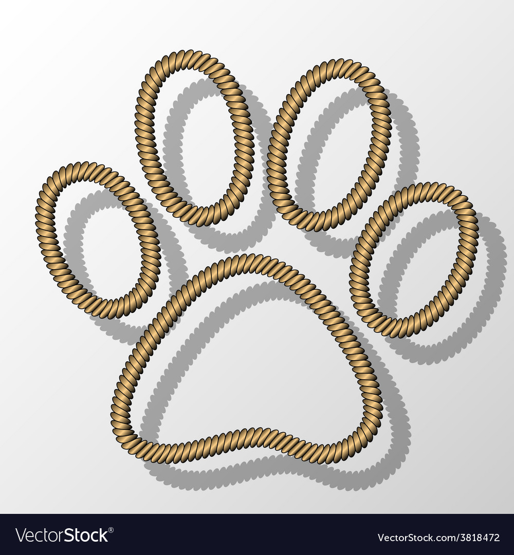 Paw print-rope vector | Price: 1 Credit (USD $1)