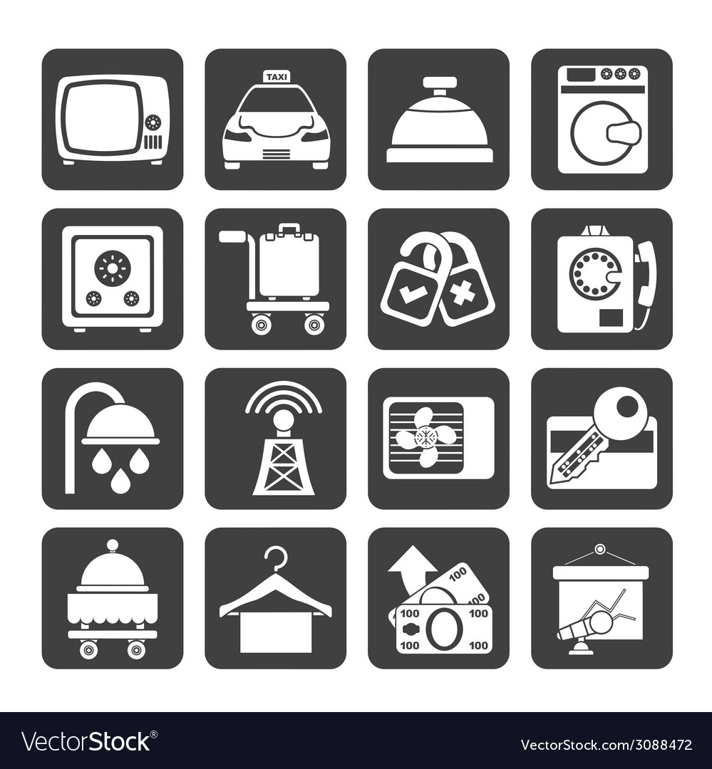 Silhouette hotel and motel room facilities icons vector | Price: 1 Credit (USD $1)