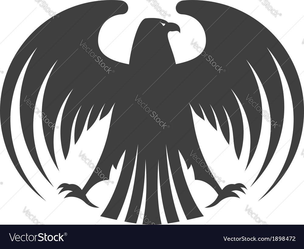 Silhouette of a black eagle with outspread wings vector | Price: 1 Credit (USD $1)