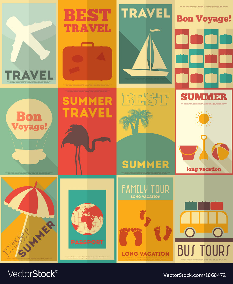 Travel posters set vector | Price: 1 Credit (USD $1)