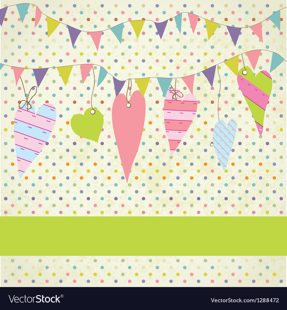 Vintage frame with birthday bunting flags vector | Price: 1 Credit (USD $1)