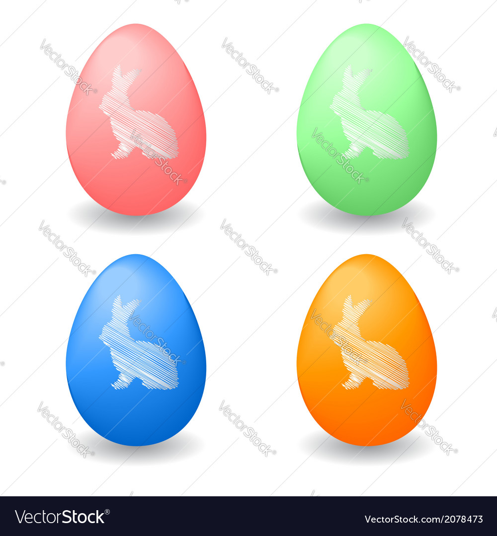 Colorful easter eggs with bunny rabbits vector | Price: 1 Credit (USD $1)