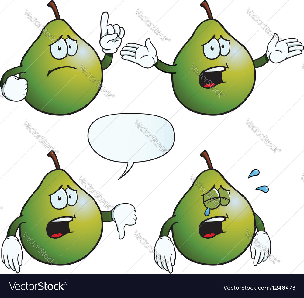 Crying pear set vector | Price: 1 Credit (USD $1)