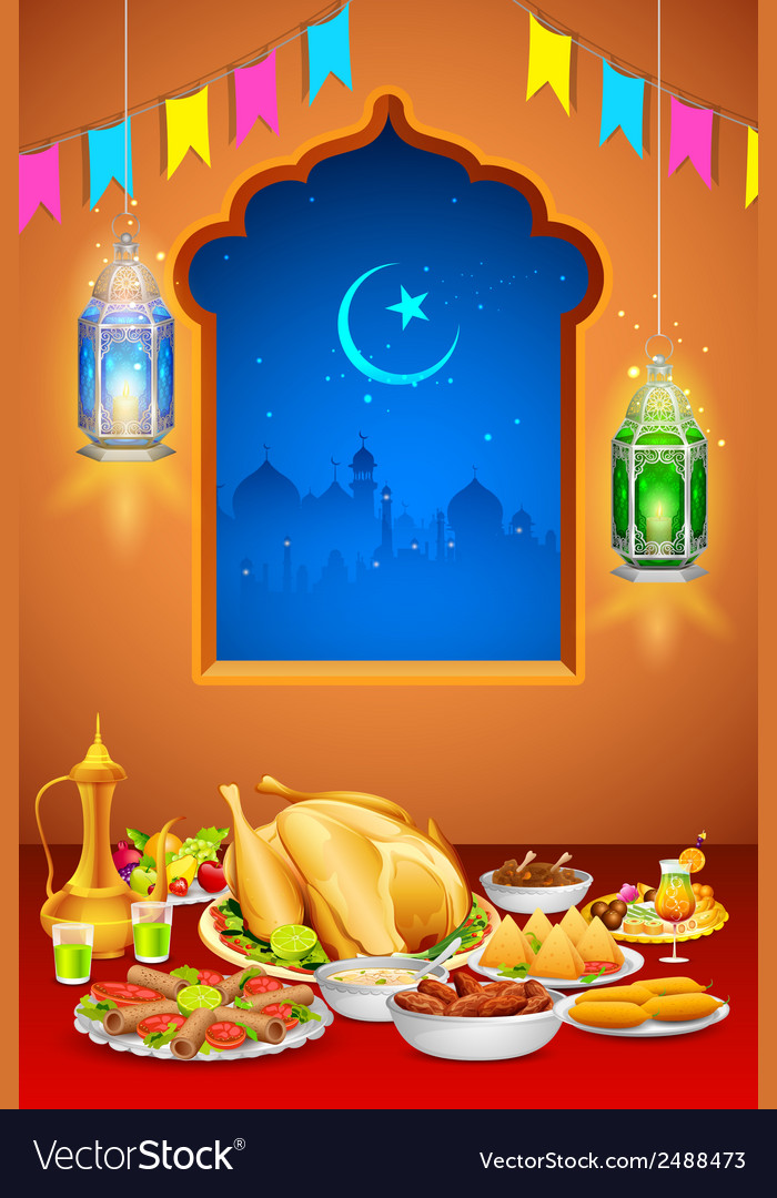 Delicious dishes for iftar party vector | Price: 1 Credit (USD $1)