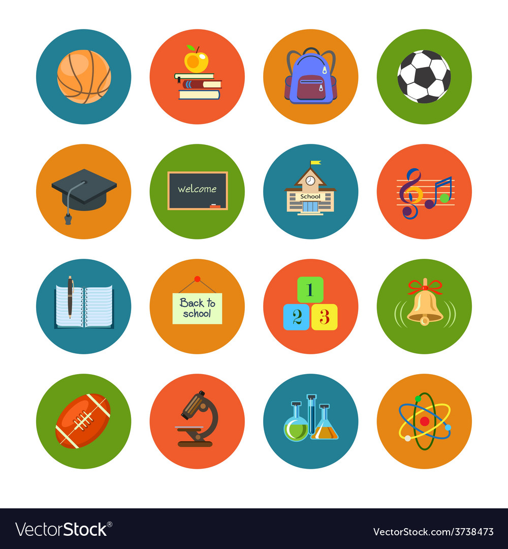 Flat education icons set vector | Price: 1 Credit (USD $1)