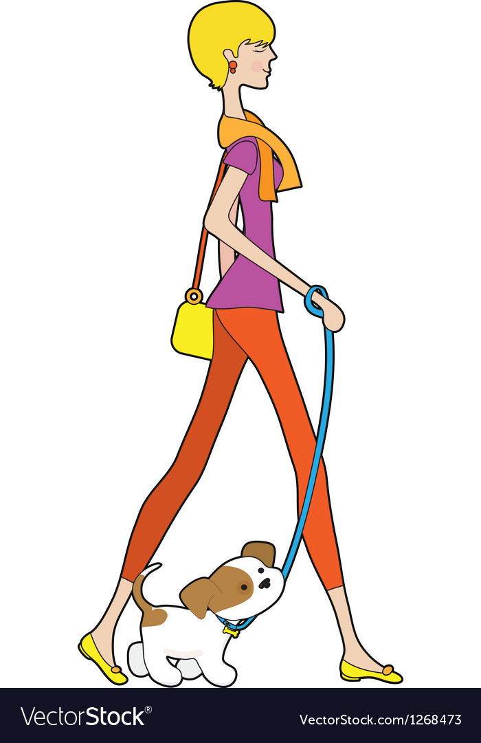 Lady walking puppy vector | Price: 1 Credit (USD $1)