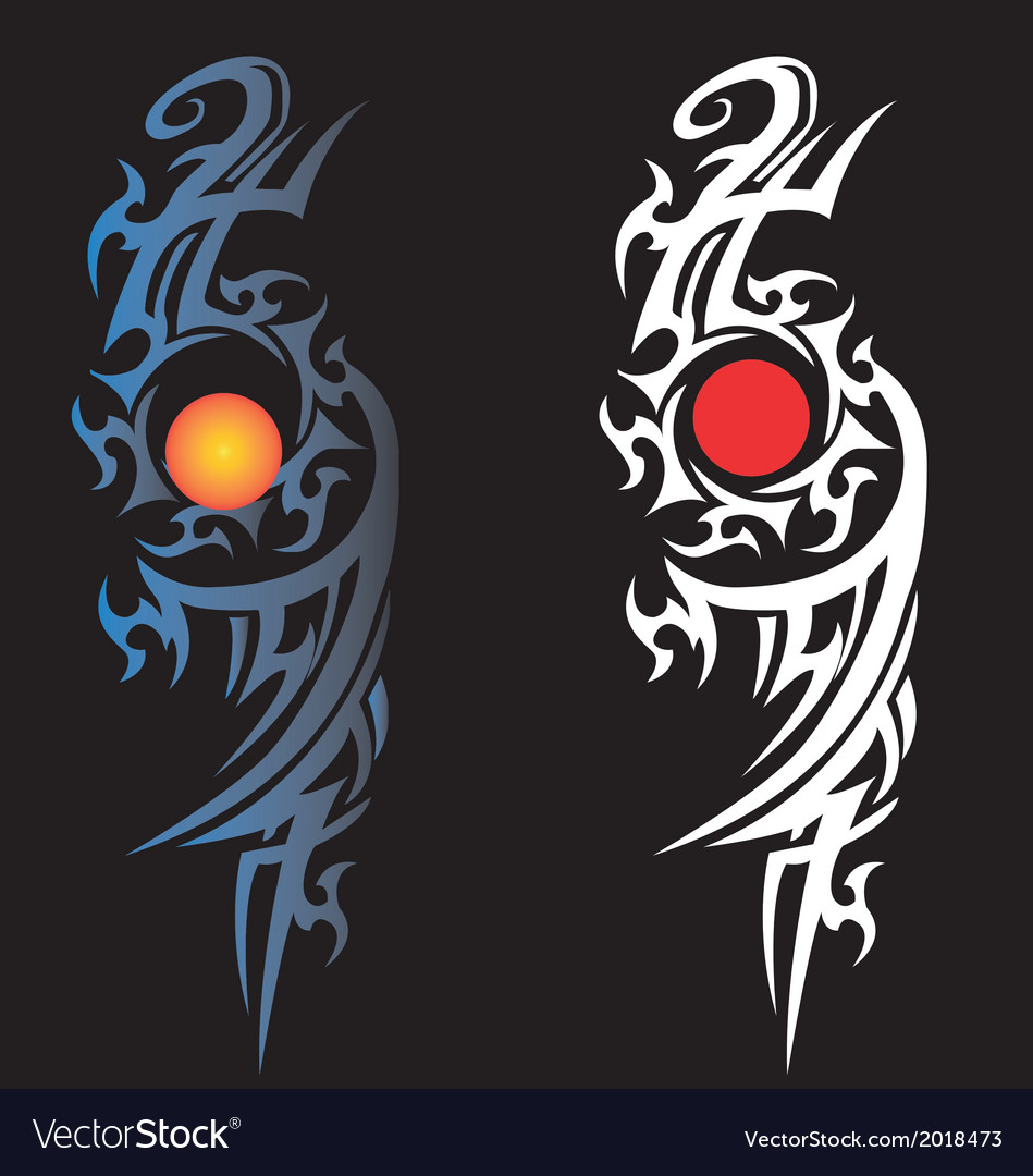 Night time with sun and moon drawing tattoo vector | Price: 1 Credit (USD $1)