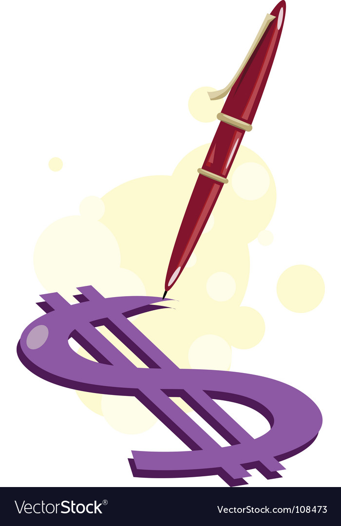 Pen-write-money vector | Price: 1 Credit (USD $1)