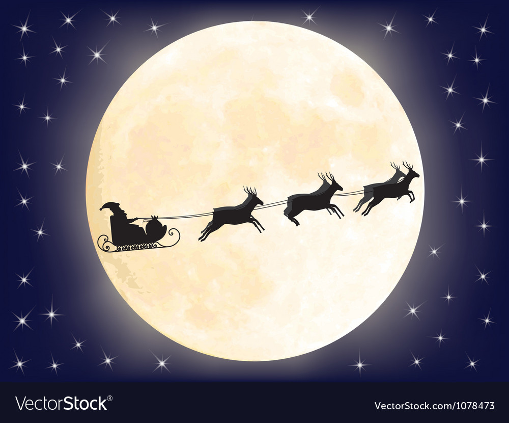 Santa sledge over full moon vector | Price: 1 Credit (USD $1)