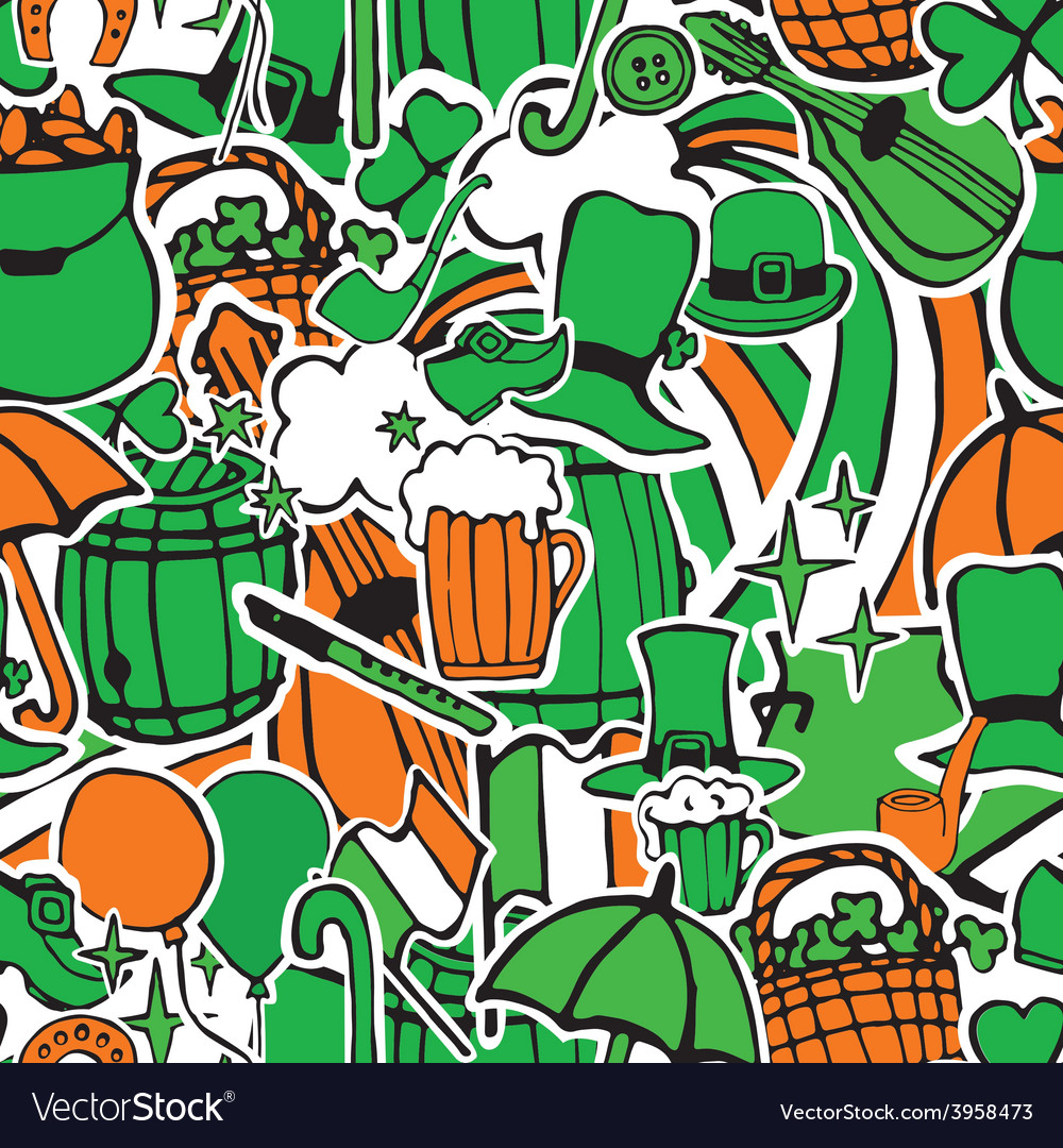 Seamless pattern with holiday symbols patrick vector | Price: 1 Credit (USD $1)