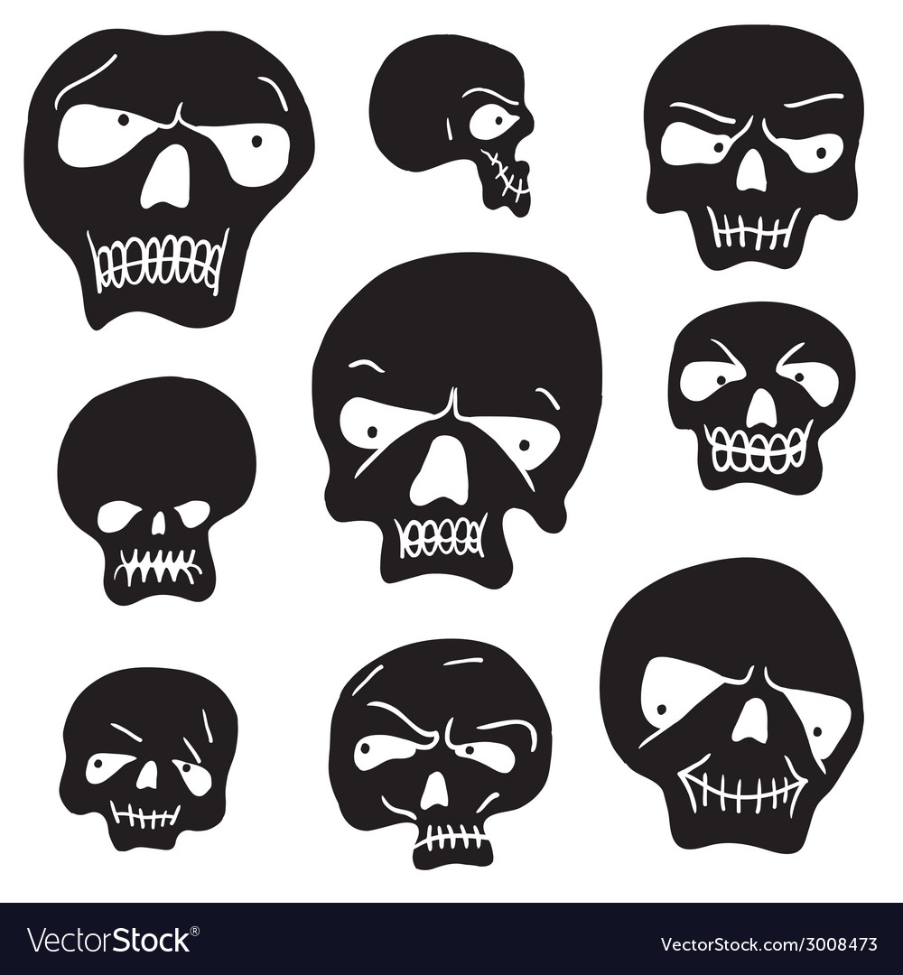 Skulls cartoon set vector | Price: 1 Credit (USD $1)