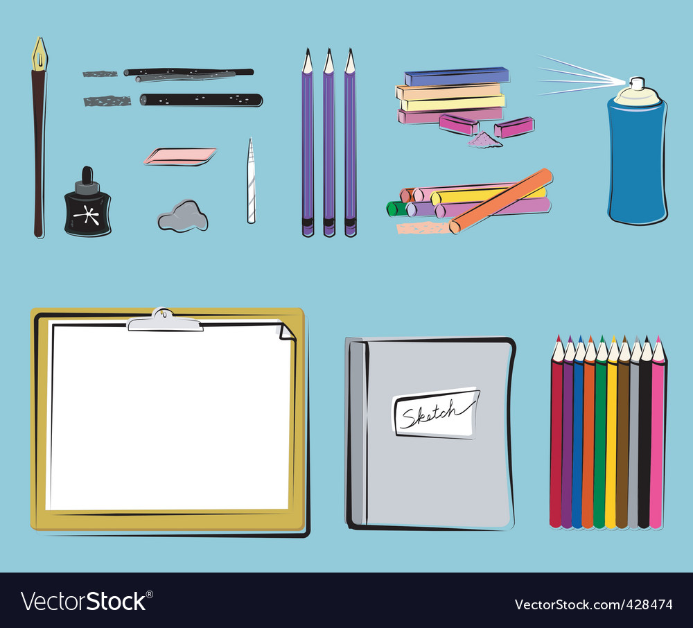 Art supplies  drawing vector | Price: 1 Credit (USD $1)