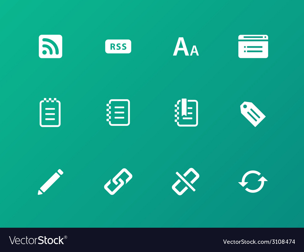 Blogger icons on green background vector | Price: 1 Credit (USD $1)