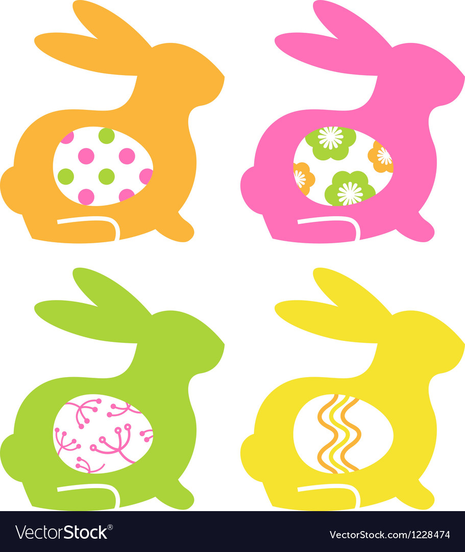 Easter bunnies with eggs isolated on white vector | Price: 1 Credit (USD $1)