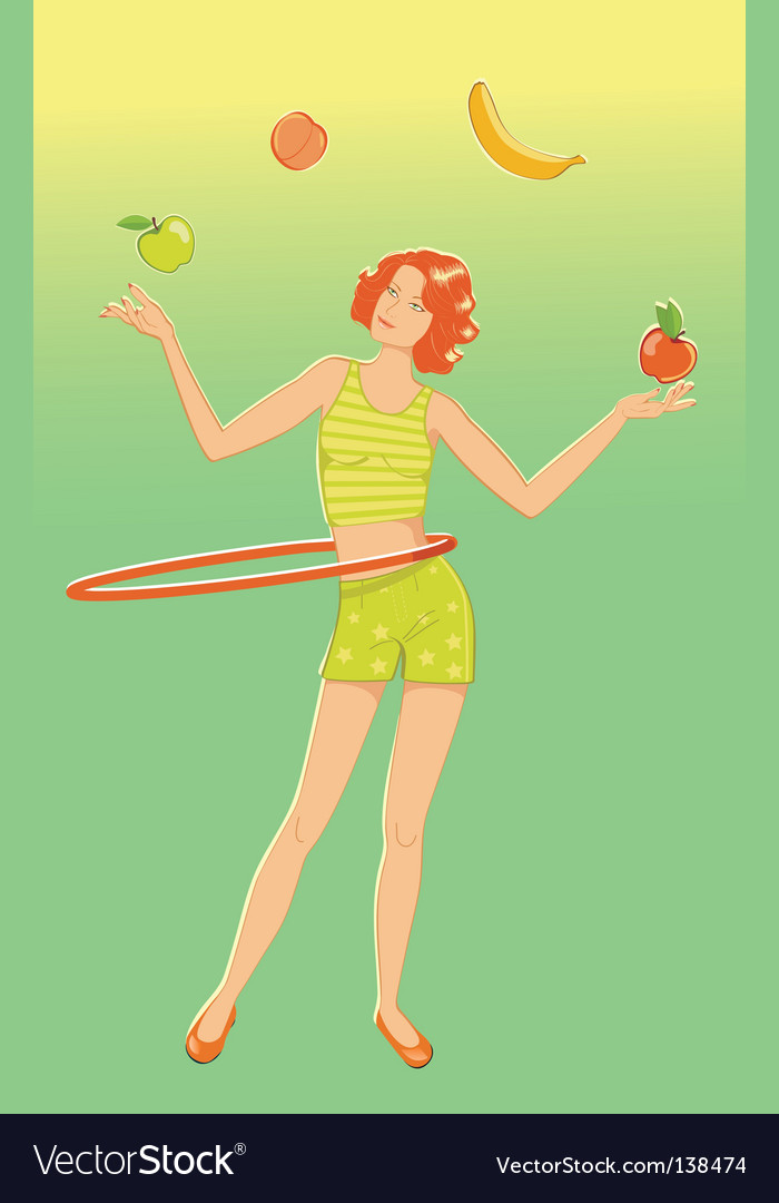 Juggler girl vector | Price: 1 Credit (USD $1)