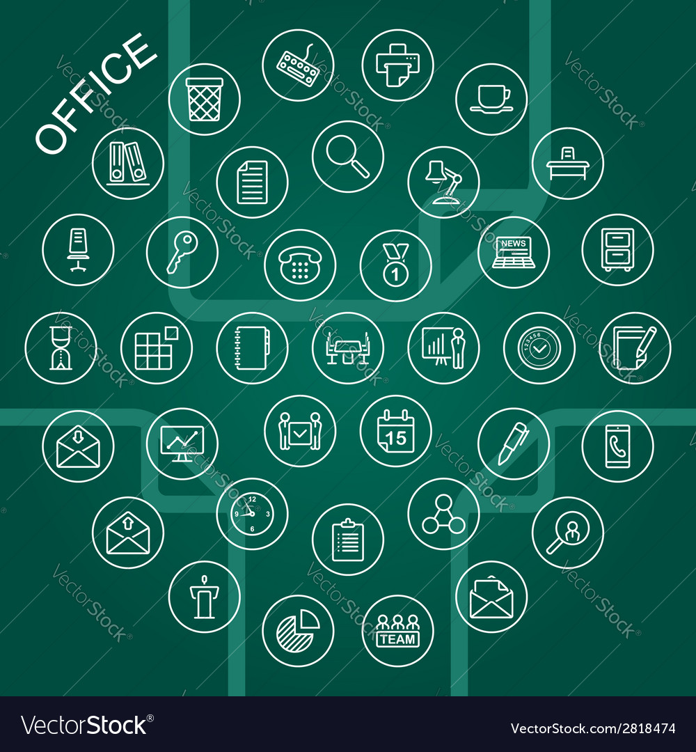 Line icons office vector | Price: 1 Credit (USD $1)