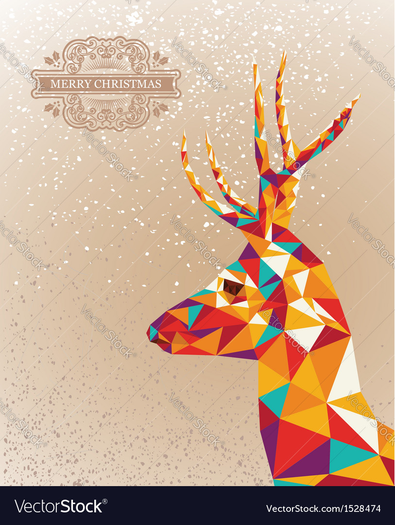 Merry christmas colorful reindeer shape background vector | Price: 1 Credit (USD $1)