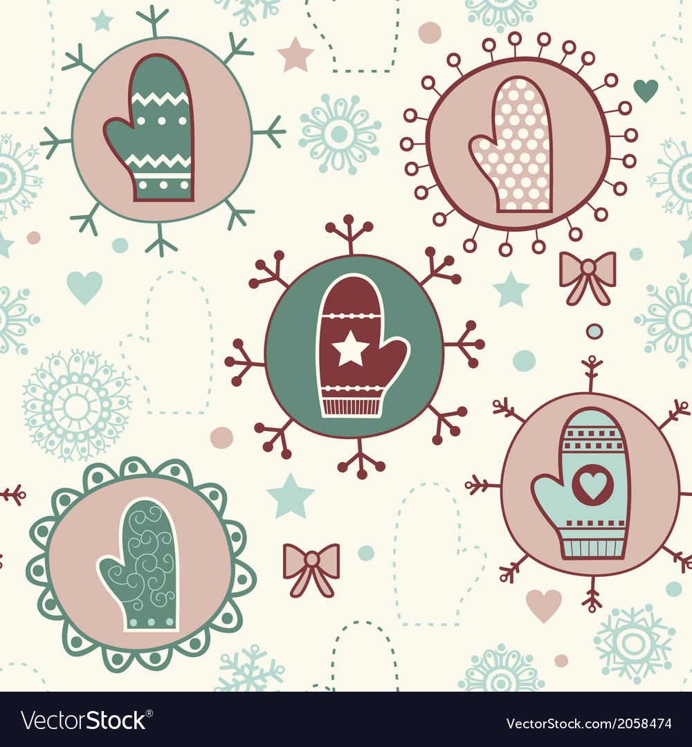 Mitten seamless pattern copy square to the side vector | Price: 1 Credit (USD $1)
