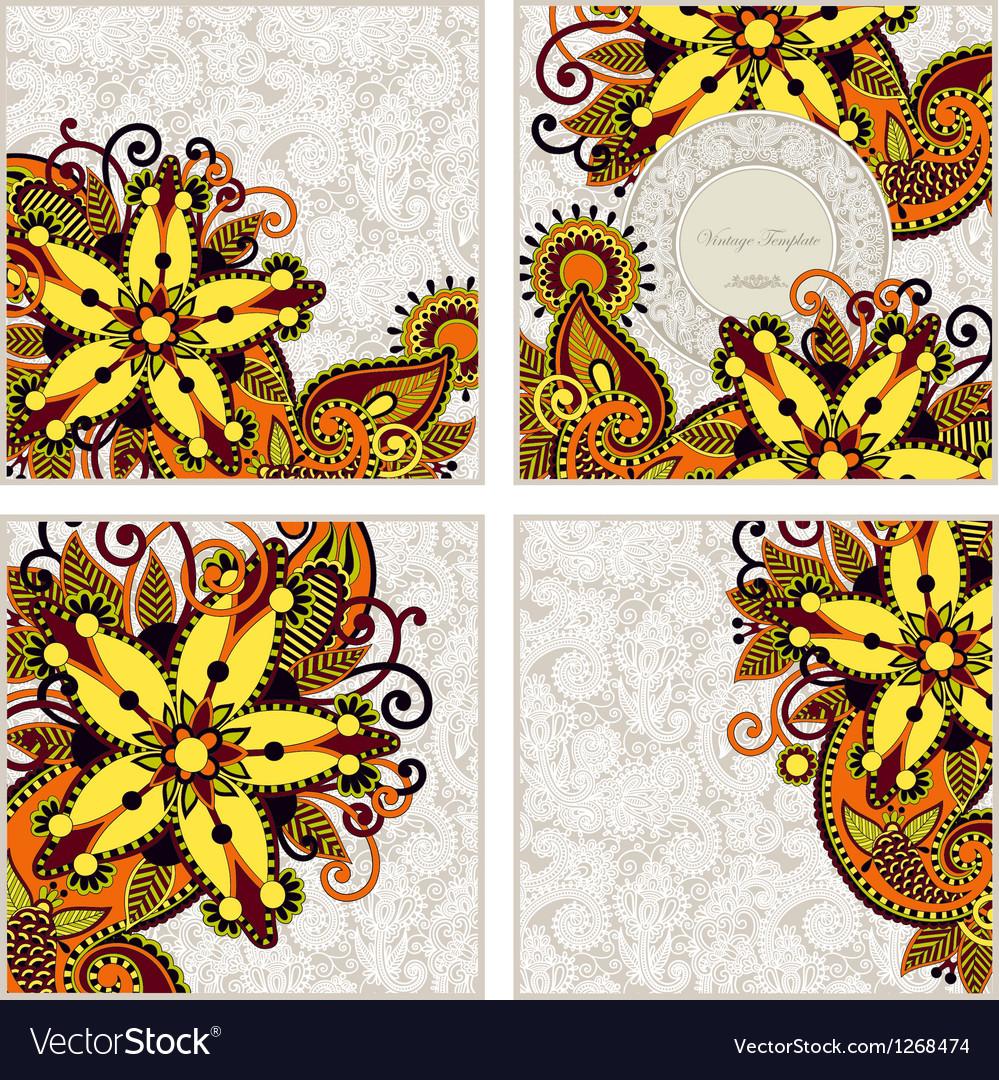 Ornate set of four flower background design vector | Price: 1 Credit (USD $1)